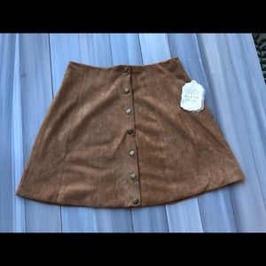 Altar'd State Suede Tan Button Mini Skirt- New